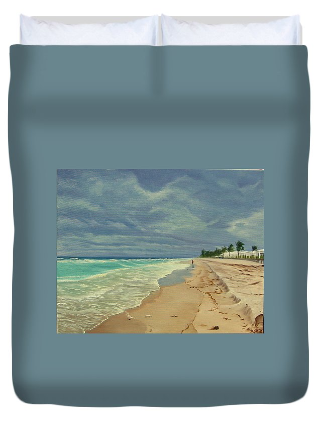 Beach Duvet Cover featuring the painting Grey Day On The Beach by Lea Novak