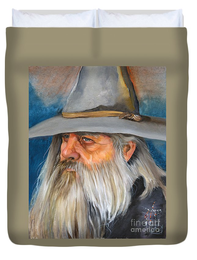 Wizard Duvet Cover featuring the painting Grey Days by J W Baker