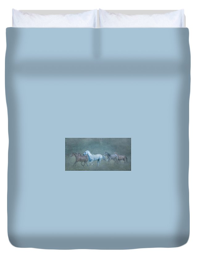 Horses Duvet Cover featuring the photograph Grey In Outstanding by Eleszabeth McNeel