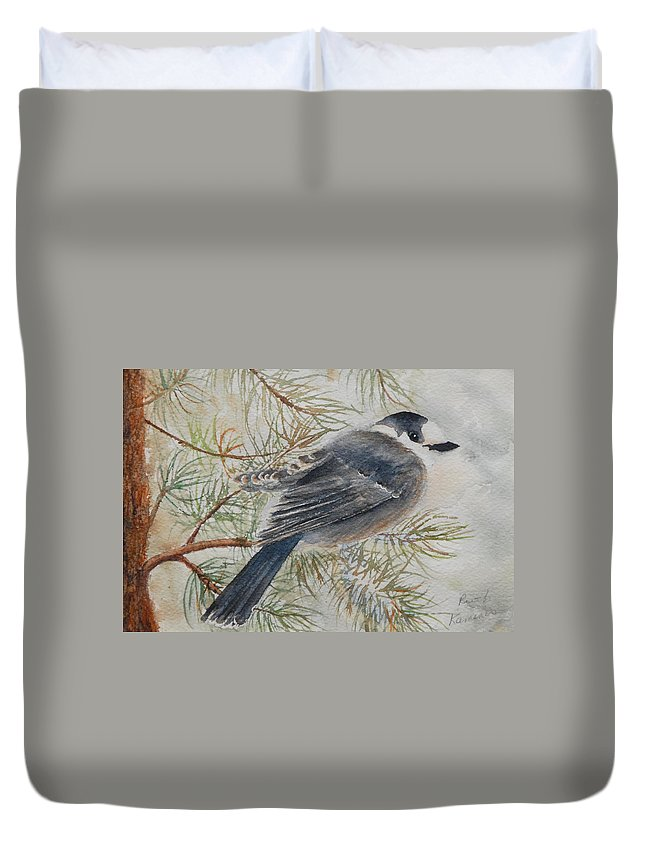 Bird Duvet Cover featuring the painting Grey Jay by Ruth Kamenev