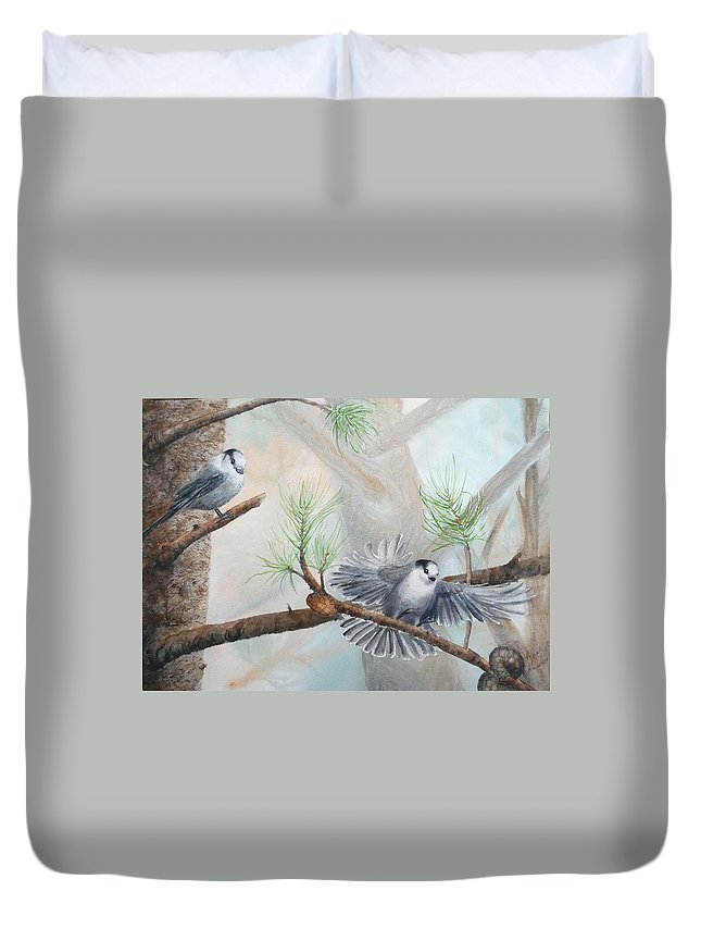 Grey Jay Duvet Cover featuring the painting Grey Jays In A Jack Pine by Ruth Kamenev