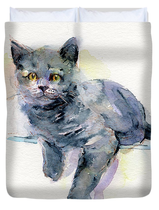 Gray Duvet Cover featuring the painting Grey Kitten by John Keeling