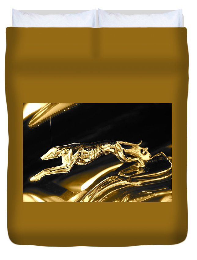 Greyhound Duvet Cover featuring the photograph Greyhound hoood ornament by Toni Berry