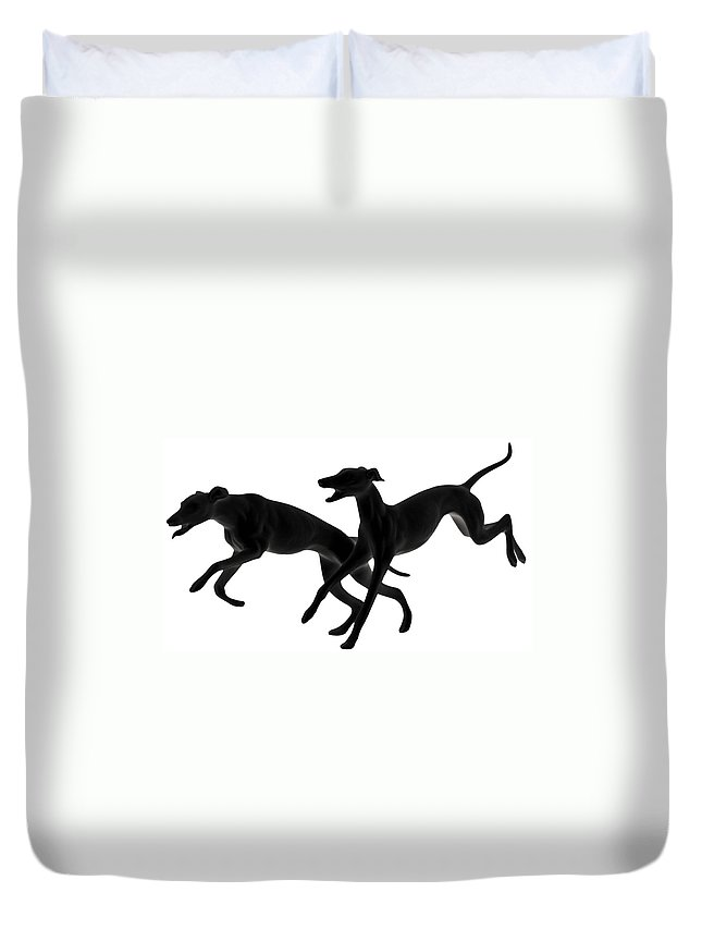Greyhounds Duvet Cover featuring the photograph Greyhounds Travelling At 45 Mph by Christine Till
