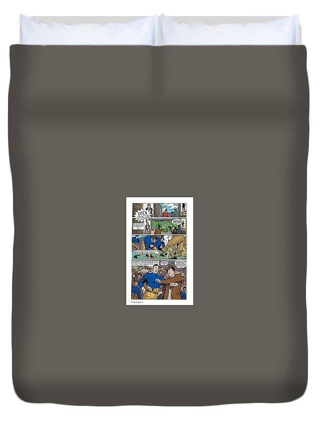 Green Bay Packers Duvet Cover featuring the drawing Gridiron The Beginning Page One by Greg Le Duc Ron Randall