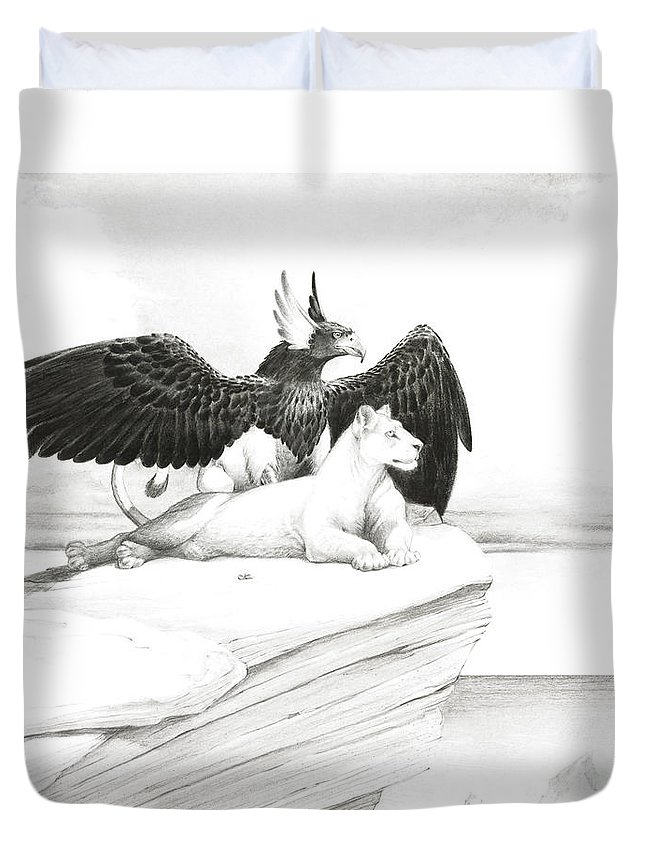 Griffin Duvet Cover featuring the painting Griffin And Lioness by Melissa A Benson