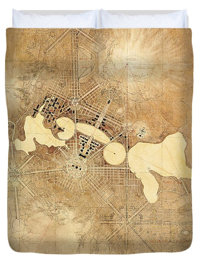 Australia Duvet Cover featuring the drawing Griffin Plan Canberra 1912 by Walter Burley Griffin