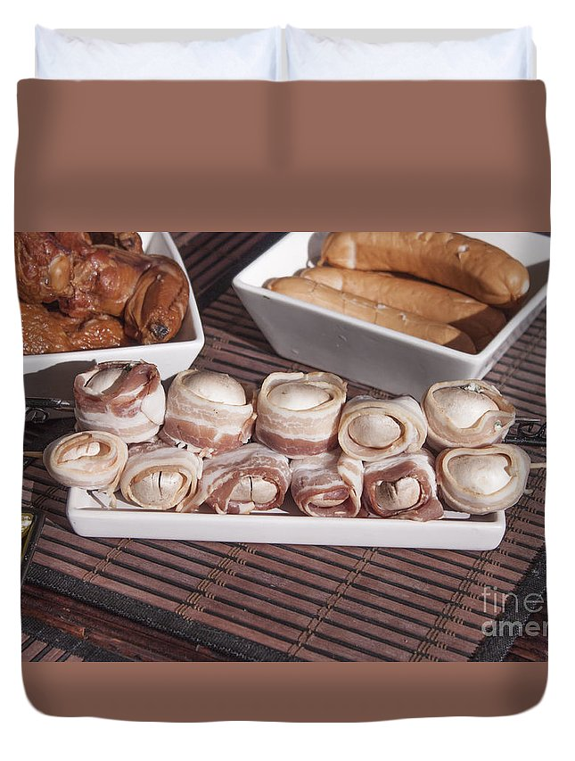 Grill Duvet Cover featuring the photograph Grilled Champignon by D R