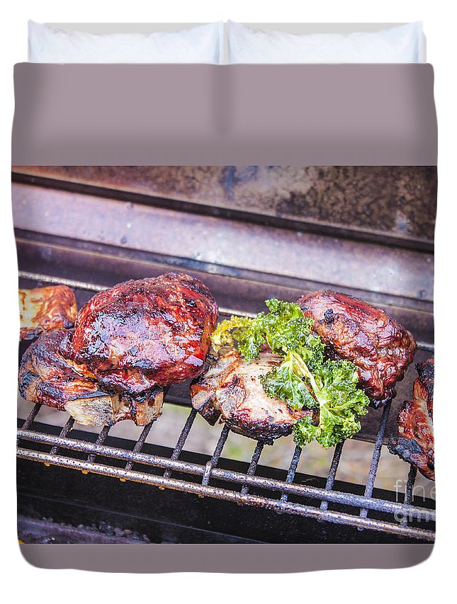 Meat Duvet Cover featuring the photograph Grilled Meat by D R