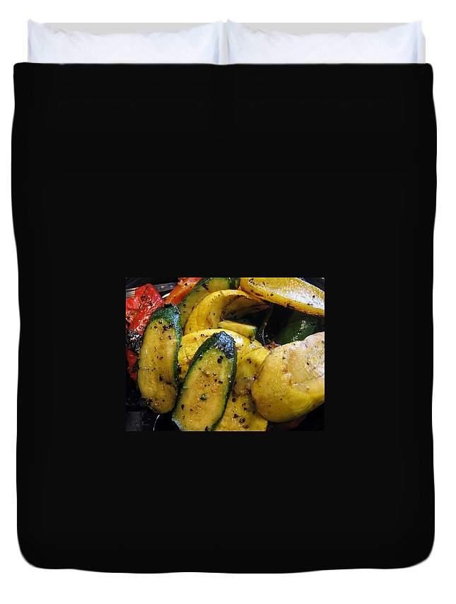 Bell Peppers Duvet Cover featuring the photograph Grilled Veggies by Amy Hosp