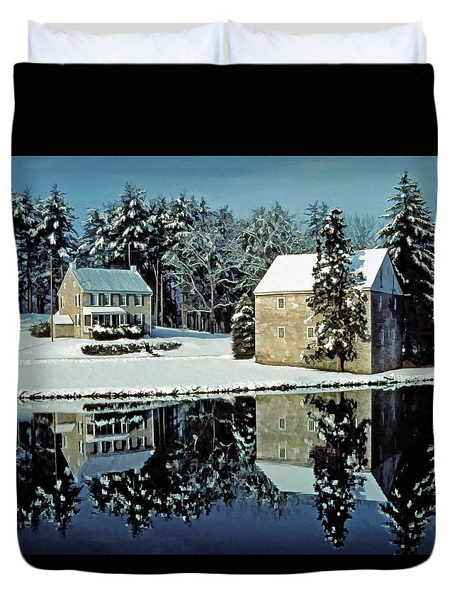 Grings Mill Recreation Area Duvet Cover featuring the photograph Grings Mill Snow 001 by Scott McAllister