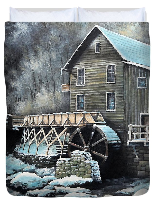 Landscape Duvet Cover featuring the painting Grist Mill by Mike Worthen