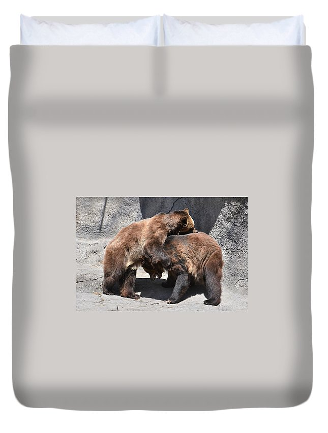 Grizzly Bear Duvet Cover featuring the photograph Grizzlies' Playtime 4 by Flo McKinley