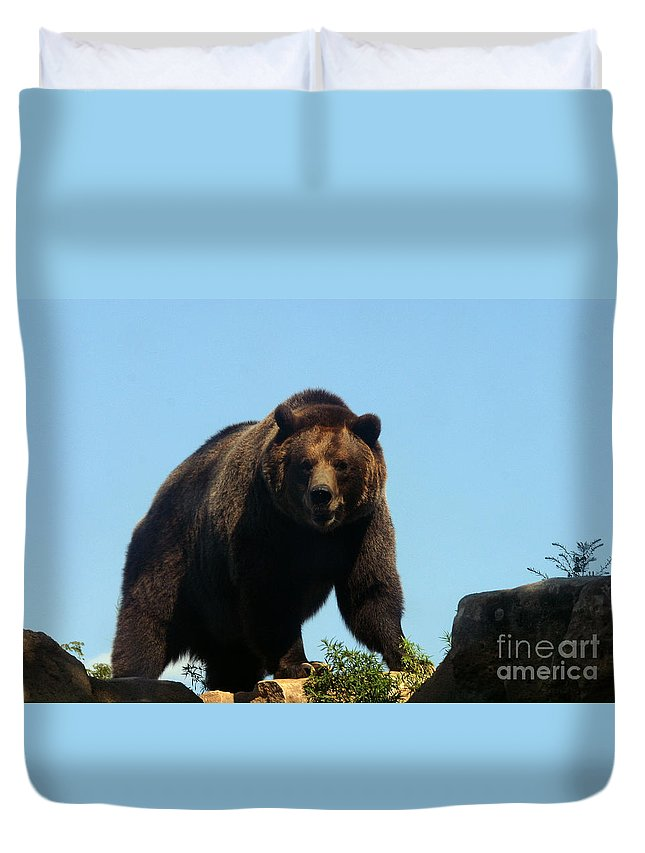 Animal Duvet Cover featuring the photograph Grizzly-7746 by Gary Gingrich Galleries