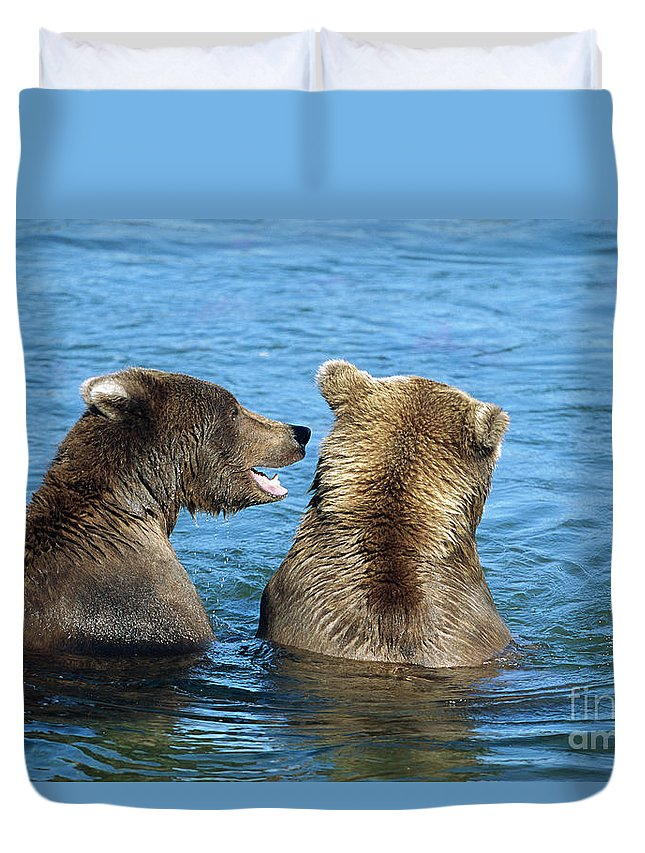 00340360 Duvet Cover featuring the photograph Grizzly Bear Talk by Yva Momatiuk and John Eastcott