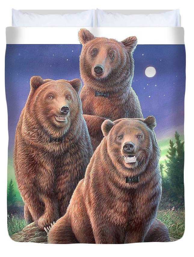 Grizzly Duvet Cover featuring the painting Grizzly Bears In Starry Night by Hans Droog