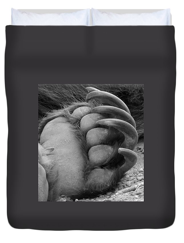 Grizzly Bear Duvet Cover featuring the photograph Grizzly Claws by Tiffany Vest