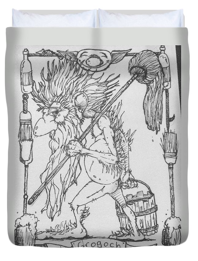 Fae Duvet Cover featuring the drawing Grogoch by Jason Strong