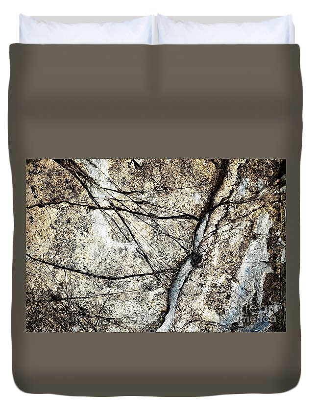 Dark Duvet Cover featuring the pyrography Grooves In An Old Limestone by Jozef Jankola