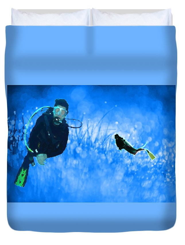 Scuba Duvet Cover featuring the digital art Groundwater by River Starship