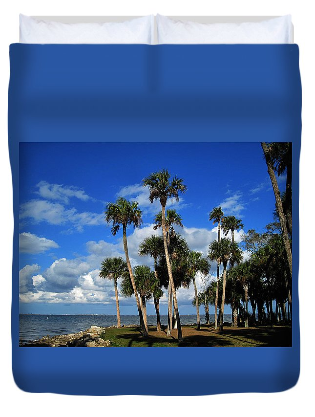 Photography Duvet Cover featuring the photograph Group Of Palms by Susanne Van Hulst