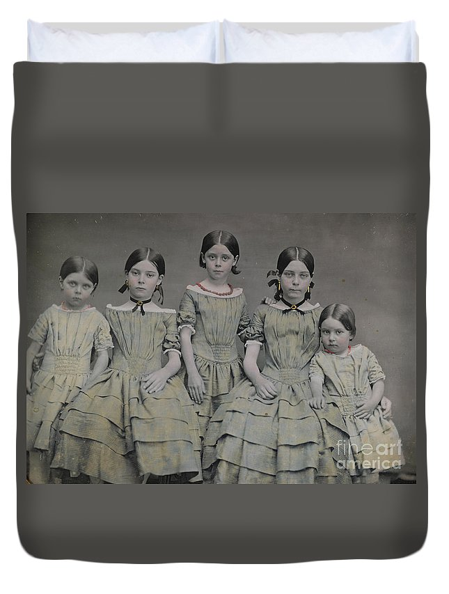 Group Portrait Of Five Sisters Duvet Cover featuring the painting Group Portrait Of Five Sisters by Celestial Images