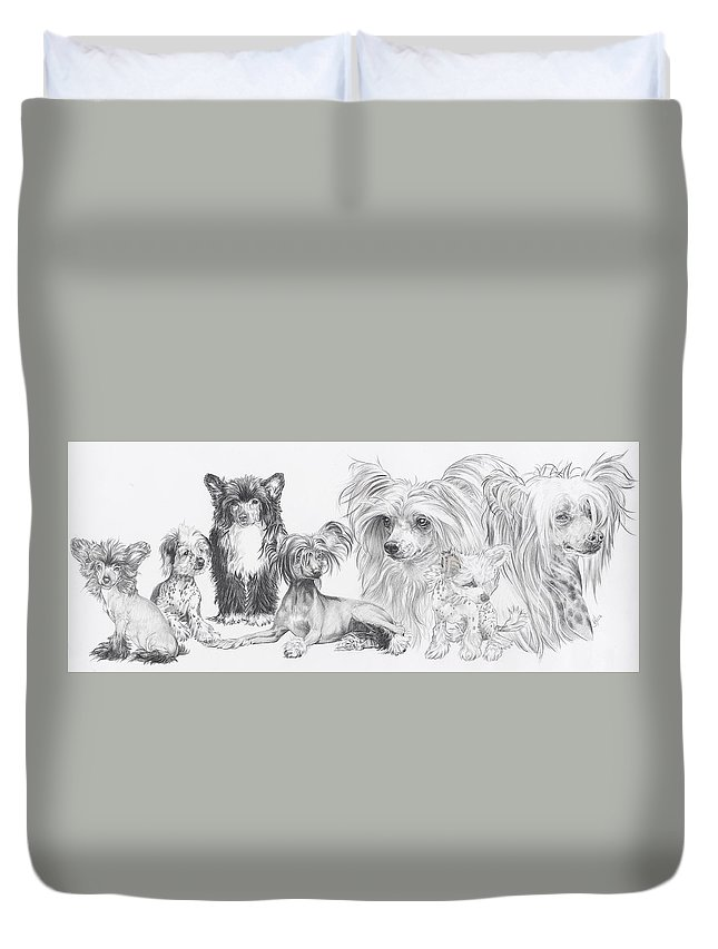 Dog Duvet Cover featuring the drawing Growing Up Chinese Crested And Powderpuff by Barbara Keith