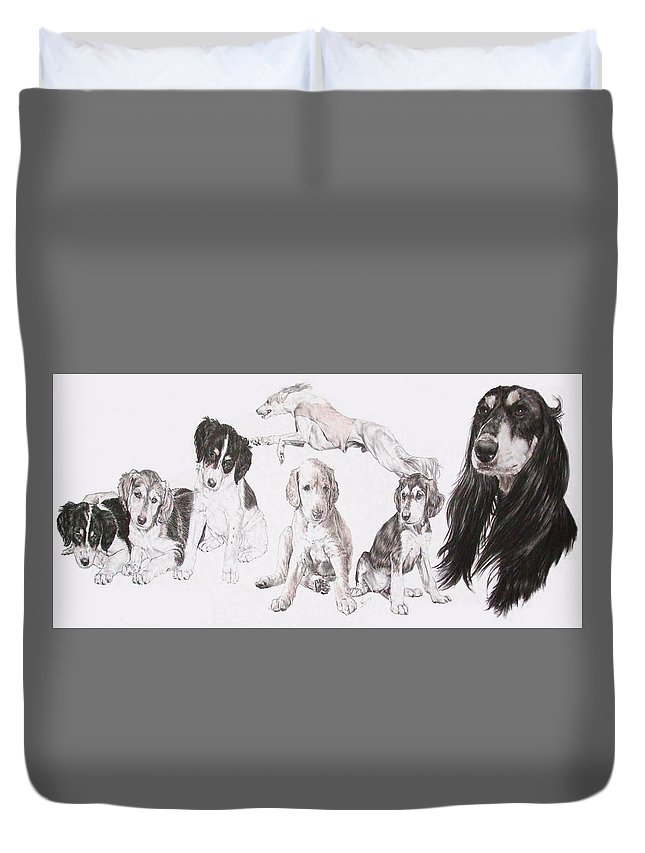 Purebred Dogs Duvet Cover featuring the mixed media Growing Up Saluki by Barbara Keith