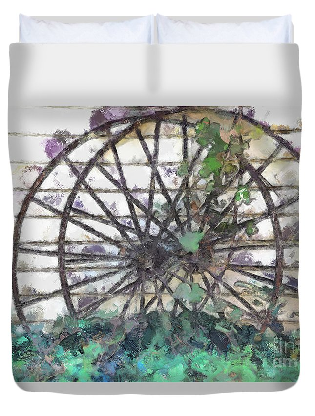 Old Duvet Cover featuring the photograph Growing Wheels by Teresa Henry