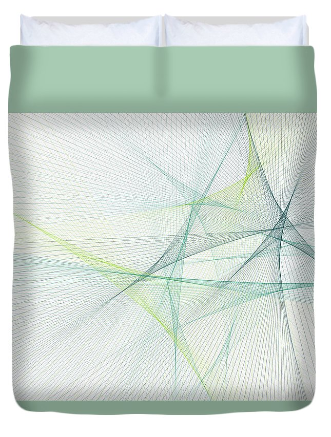 Abstract Duvet Cover featuring the digital art Growth Computer Graphic Line Pattern by Frank Ramspott