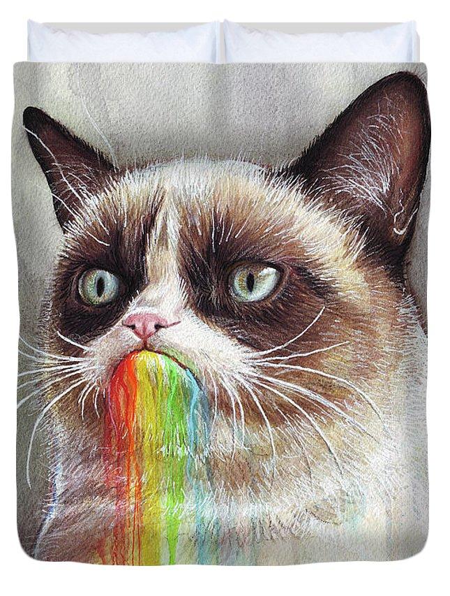 Grumpy Cat Duvet Cover featuring the painting Grumpy Cat Tastes The Rainbow by Olga Shvartsur