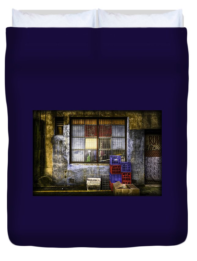 Grunge Duvet Cover featuring the photograph Grunge Dept by Wayne Sherriff