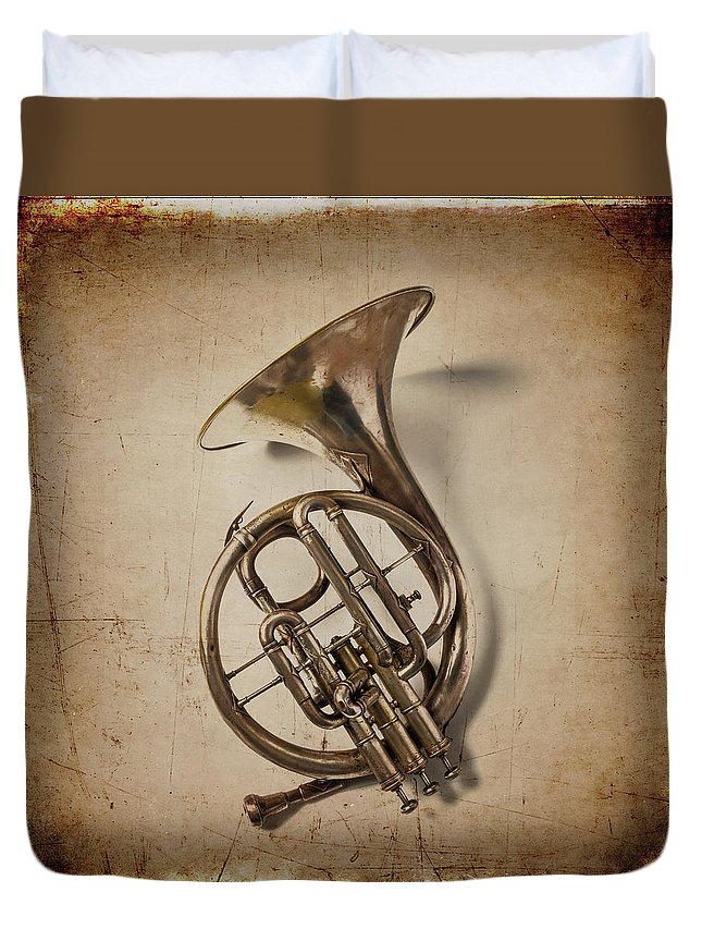 Small Duvet Cover featuring the photograph Grunge French Horn by Garry Gay