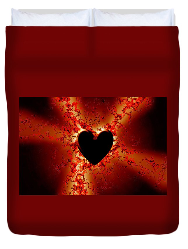 Grunge Duvet Cover featuring the digital art Grunge Heart by Phill Petrovic