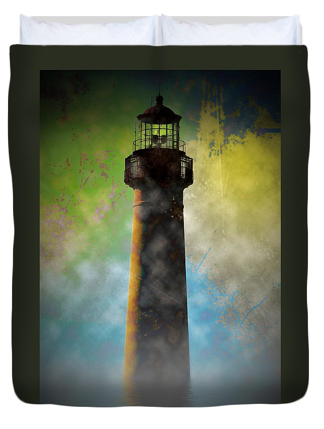Grunge Duvet Cover featuring the photograph Grunge Lighthouse by Bill Cannon