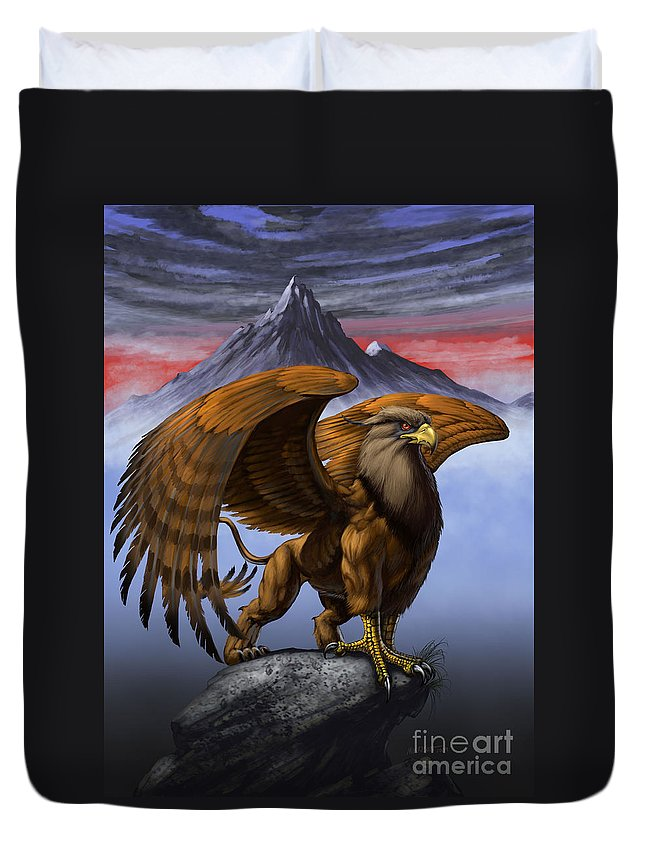 Fantasy Duvet Cover featuring the digital art Gryphon by Stanley Morrison