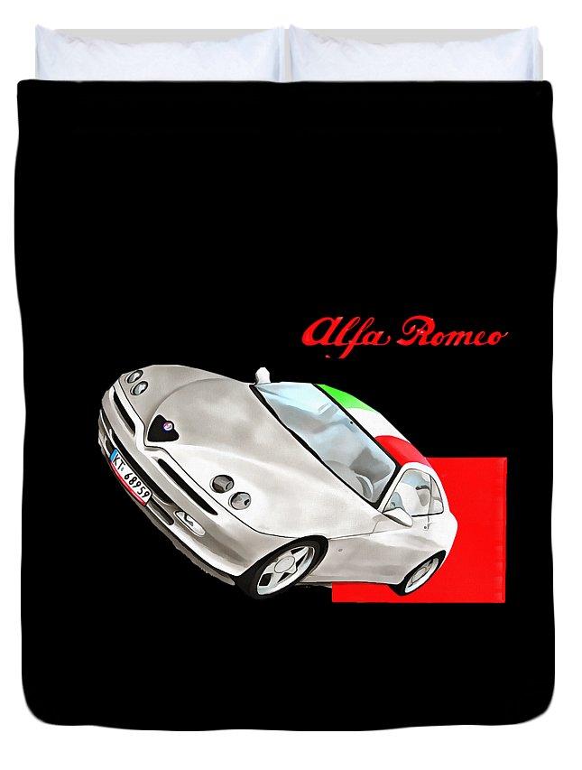 Alfa Romeo Duvet Cover featuring the digital art Gtv Alfa by Dazzle Wiseman