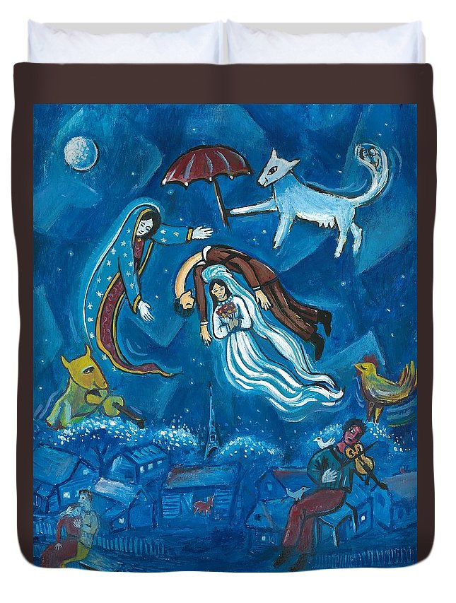 Guadalupe Duvet Cover featuring the painting Guadalupe Visits Chagall by James RODERICK