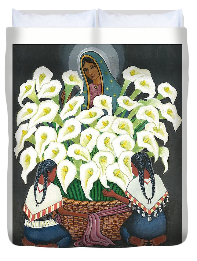 Diego Rivera Duvet Cover featuring the painting Guadalupe Visits Diego Rivera by James RODERICK