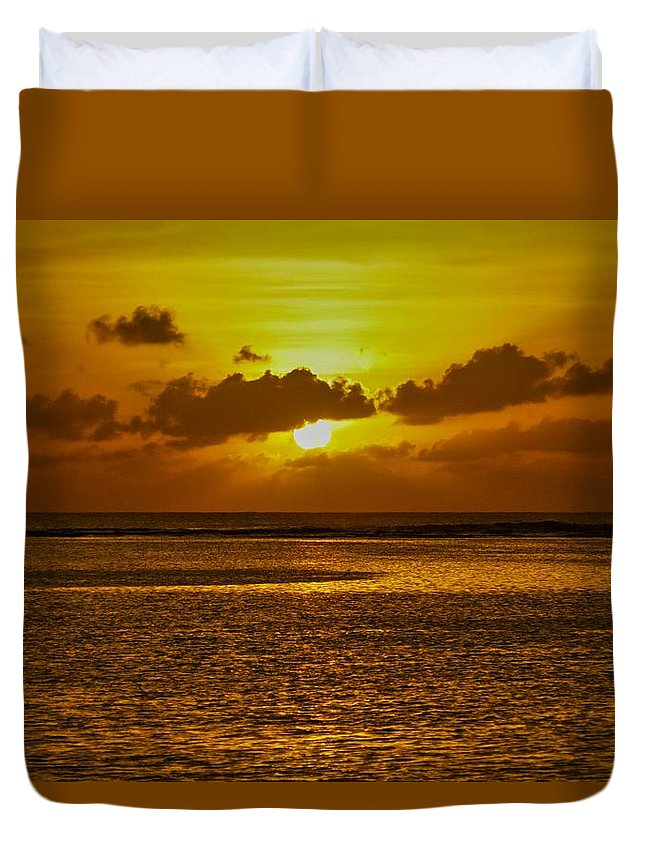 Sunset Duvet Cover featuring the photograph Guam Sunset by Byron Fair