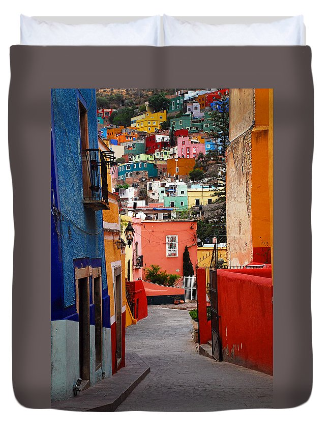 Skip Hunt Duvet Cover featuring the photograph Guanajuato Lane by Skip Hunt