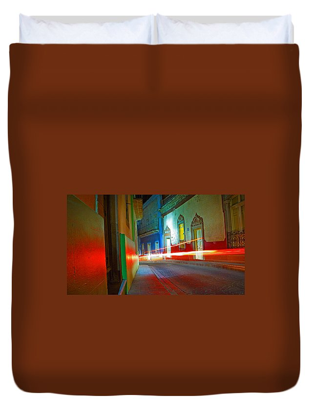 Shadow Duvet Cover featuring the photograph Guanajuato Night by Skip Hunt