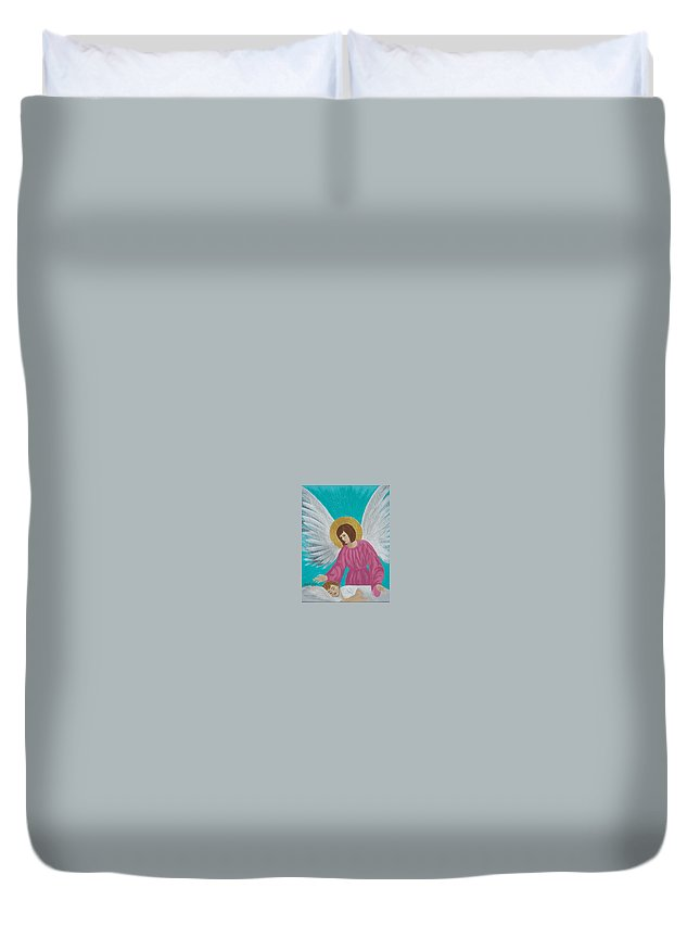 Guardian Duvet Cover featuring the painting Guardian Angel by Angela Miles Varnado