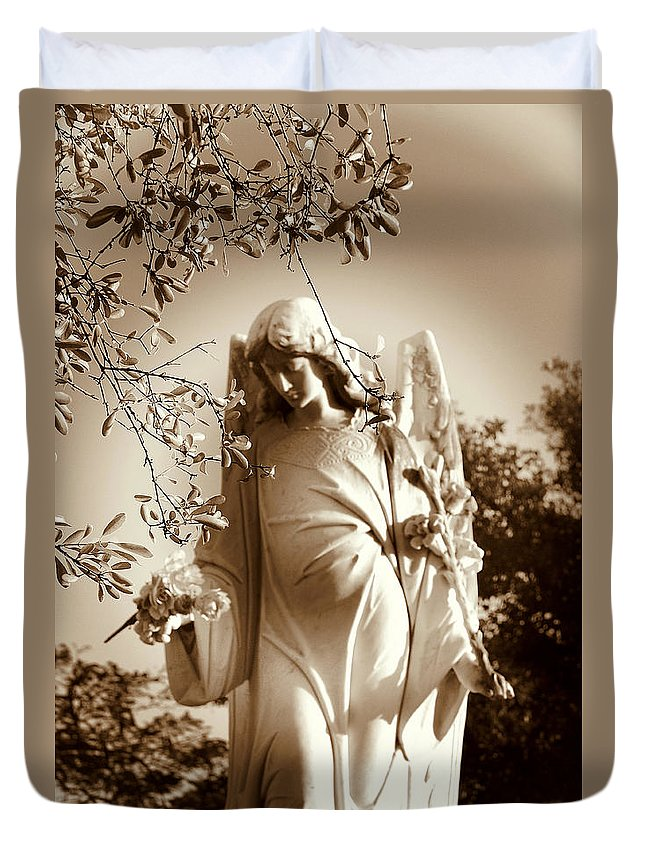 Angel Duvet Cover featuring the photograph Guardian Angel Bw by Susanne Van Hulst