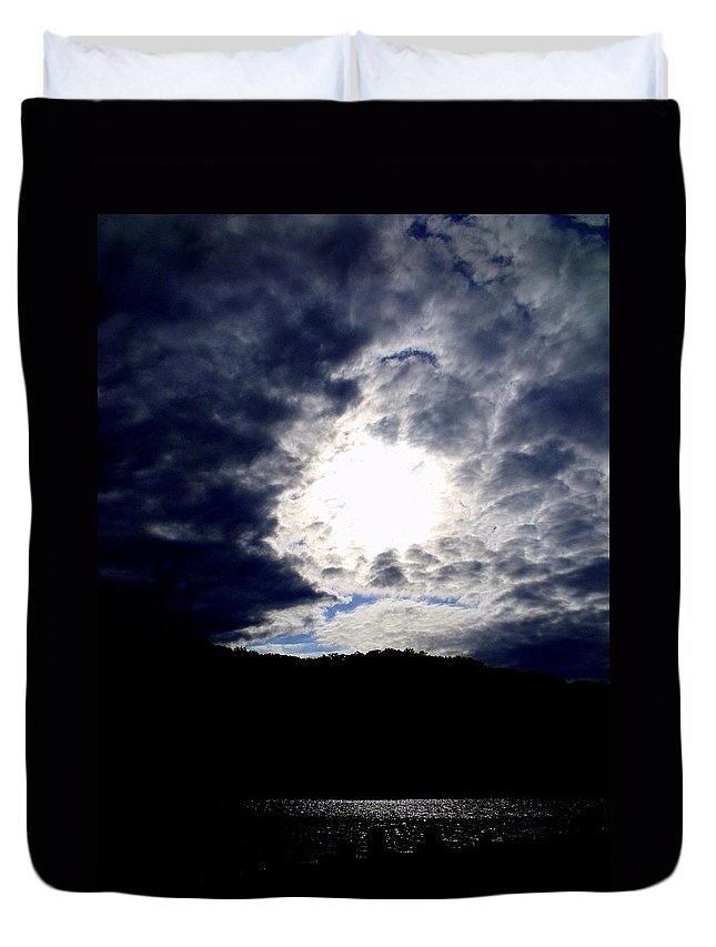 Sky Duvet Cover featuring the photograph Guardian Of The Portal by Ed Smith