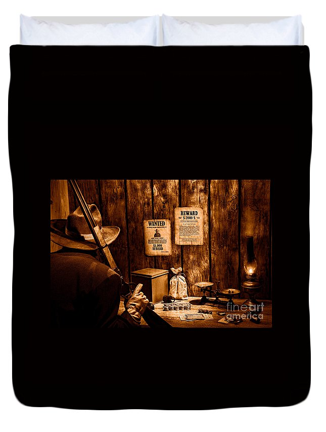 Western Duvet Cover featuring the photograph Guarding The Payroll - Sepia by Olivier Le Queinec