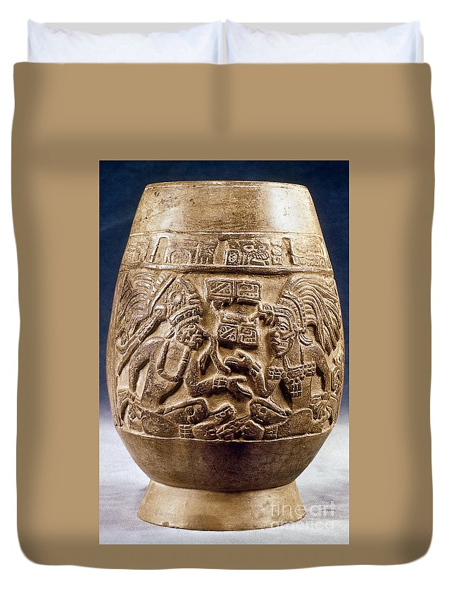 900 Duvet Cover featuring the photograph Guatemala: Mayan Vase by Granger