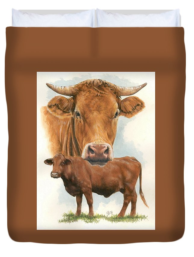Cow Duvet Cover featuring the mixed media Guernsey by Barbara Keith