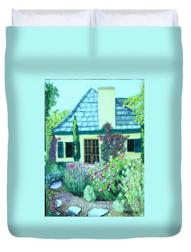 Cottage Duvet Cover featuring the painting Guest Cottage by Laurie Morgan