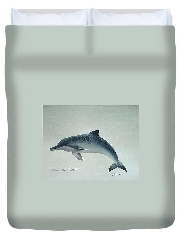 River Dolphin Duvet Cover featuring the painting Guiana River Dolphin by Christopher Cox